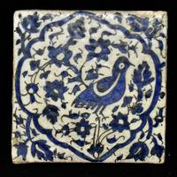 Blue & White Pottery Tiles Possibly Zand or Early Qajar Iran, Late 18th Century
