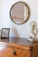 Vintage Round Painted Blue & Gold Mirror (6 of 11)