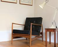 Ib Kofod-Larsen Teak Open Armchair with Black Button Backed Cushions Designed For G-Plan C.1965