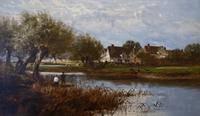 """William Edward Harris – """"Fishing by the Severn"""" – Signed & Dated 1887 – Oil on Canvas (2 of 2)"""