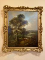 """Pair of Oil on Canvas Paintings """"Cattle Droving"""" by John Joseph Barker 'Bath' (2 of 6)"""