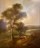 """Pair of Oil on Canvas Paintings """"Cattle Droving"""" by John Joseph Barker 'Bath' (3 of 6)"""