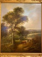 """Pair of Oil on Canvas Paintings """"Cattle Droving"""" by John Joseph Barker 'Bath' (4 of 6)"""