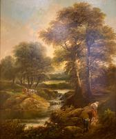 """Pair of Oil on Canvas Paintings """"Cattle Droving"""" by John Joseph Barker 'Bath' (6 of 6)"""