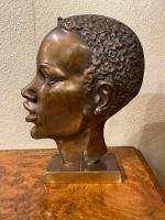 Pair of Art Deco Bronze Profile Studies of Negro Heads (3 of 3)