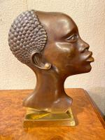Pair of Art Deco Bronze Profile Studies of Negro Heads (2 of 3)