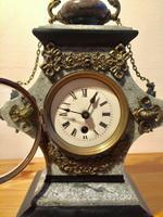 Rare Antique French Vintage Marble Granite Bronze Ornate Slate Mantel Clock (2 of 12)