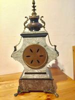Rare Antique French Vintage Marble Granite Bronze Ornate Slate Mantel Clock (12 of 12)