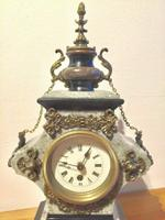 Rare Antique French Vintage Marble Granite Bronze Ornate Slate Mantel Clock (4 of 12)