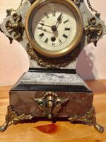 Rare Antique French Vintage Marble Granite Bronze Ornate Slate Mantel Clock (5 of 12)