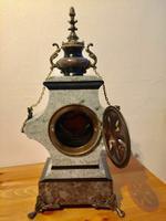 Rare Antique French Vintage Marble Granite Bronze Ornate Slate Mantel Clock (10 of 12)