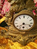 Rare Antique French Japy Freres Gilt Gilded Brass Vintage Mantel Clock (2 of 8)