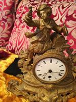 Rare Antique French Japy Freres Gilt Gilded Brass Vintage Mantel Clock (3 of 8)