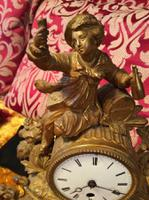 Rare Antique French Japy Freres Gilt Gilded Brass Vintage Mantel Clock (4 of 8)