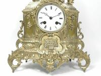 Rare 1855 Antique Japy Freres Clock Gilded Ormolu Silver Mantel Mantle Clock (2 of 6)