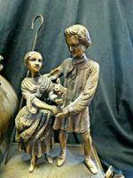 Rare Lancini Gilded Vintage Ormolu Figural Mantle Mantel Clock Hermle (2 of 9)