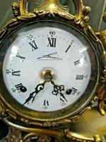 Rare Lancini Gilded Vintage Ormolu Figural Mantle Mantel Clock Hermle (3 of 9)