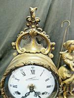 Rare Lancini Gilded Vintage Ormolu Figural Mantle Mantel Clock Hermle (4 of 9)