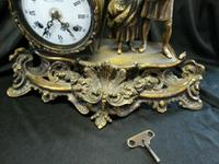 Rare Lancini Gilded Vintage Ormolu Figural Mantle Mantel Clock Hermle (5 of 9)