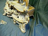 Rare Lancini Gilded Vintage Ormolu Figural Mantle Mantel Clock Hermle (6 of 9)