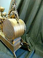 Rare Lancini Gilded Vintage Ormolu Figural Mantle Mantel Clock Hermle (7 of 9)