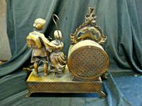 Rare Lancini Gilded Vintage Ormolu Figural Mantle Mantel Clock Hermle (8 of 9)