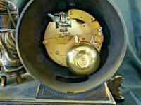 Rare Lancini Gilded Vintage Ormolu Figural Mantle Mantel Clock Hermle (9 of 9)
