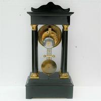 Rare Antique 1860 French Ebonised Ormolu Pendule J. Falconnier Portico Clock (5 of 11)