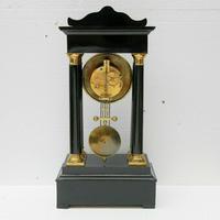 Rare Antique 1860 French Ebonised Ormolu Pendule J. Falconnier Portico Clock (6 of 11)