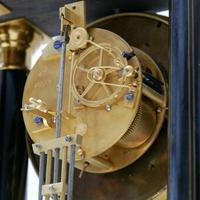 Rare Antique 1860 French Ebonised Ormolu Pendule J. Falconnier Portico Clock (8 of 11)