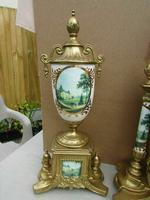 Rare Franz Hermle Imperial Ormolu Sevres Clock with Garnitures (3 of 6)