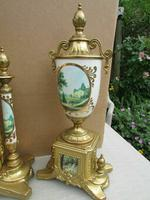 Rare Franz Hermle Imperial Ormolu Sevres Clock with Garnitures (4 of 6)