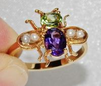 Suffragette 9ct Gold & Silver Amethyst Pearl & Peridot Bee Insect Ring