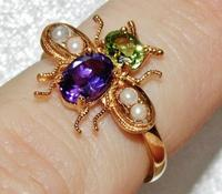 Suffragette 9ct Gold & Silver Amethyst Pearl & Peridot Bee Insect Ring (2 of 4)