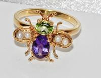 Suffragette 9ct Gold & Silver Amethyst Pearl & Peridot Bee Insect Ring (4 of 4)