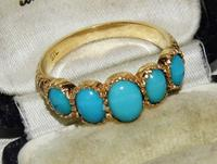 Edwardian Style 9ct Gold On Silver Turquoise 5 Stone Cabochon Ring Size O (2 of 2)