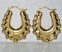 9ct Yellow Gold Victorian Style Creole Earrings