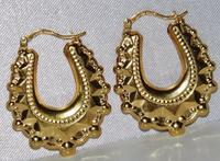 9ct Yellow Gold Victorian Style Creole Earrings (2 of 3)