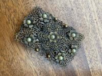 Antique Filigree Silver Brooch Set with Seed Pearls