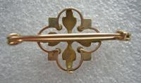 Pretty Antique Victorian 9ct Gold & Seed Pearl Brooch (3 of 3)