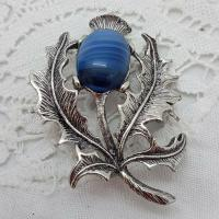 Scottish Silver Agate Brooch Thistle