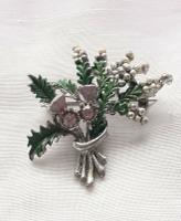 Vintage Exquisite Thistle & Heather Rhinestone Brooch Costume Jewellery Pin (5 of 6)