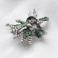 Vintage Exquisite Thistle & Heather Rhinestone Brooch Costume Jewellery Pin (6 of 6)
