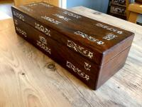 Victorian English Rosewood & Fab Mother of Pearl Inlay Box ,Trinket Jewel, Glove Box (5 of 9)