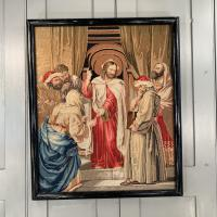 Antique French Framed Religious Embroidery of Christ & Scribes & Pharisees (2 of 10)