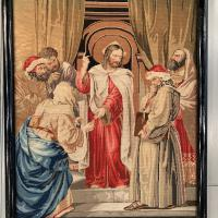 Antique French Framed Religious Embroidery of Christ & Scribes & Pharisees (10 of 10)