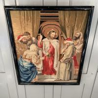 Antique French Framed Religious Embroidery of Christ & Scribes & Pharisees (7 of 10)