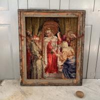 Antique French Framed Religious Embroidery of Christ & Scribes & Pharisees (8 of 10)