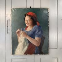 Antique Signed Oil Painting Portrait of Gypsy Girl Sewing with Thimble (2 of 10)