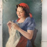 Antique Signed Oil Painting Portrait of Gypsy Girl Sewing with Thimble (3 of 10)